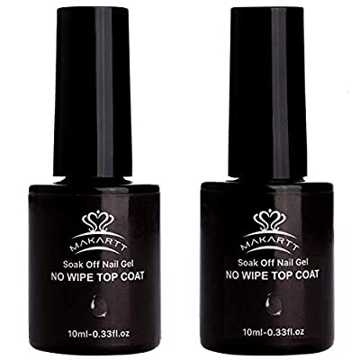 Makartt 2Pcs Top Coat Nail Polish Kit No Wipe Top Gel