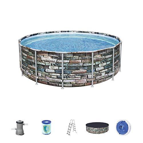Bestway 56993 Piscine Power Steel™ ronde 427 x 122 cm motif pierre, filtration à cartouche, échelle, bâche, diffuseur Chemconnect™ et cartouche antimicrobienne inclus