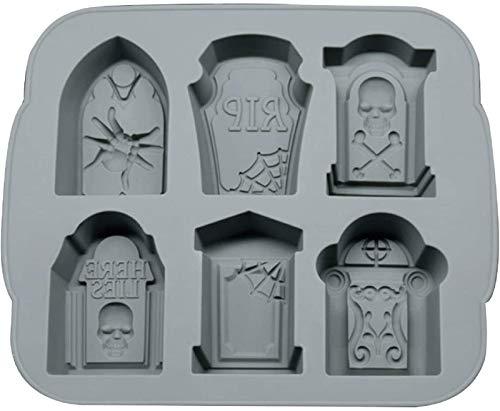 Bandeja de hielo en forma de lápida de 6 celdas, bandeja de hielo de piedra sepulcral, moldes de cubitos de hielo Bandejas para galletas de Halloween Cubo de hielo Pastel Vela Galleta (gris)