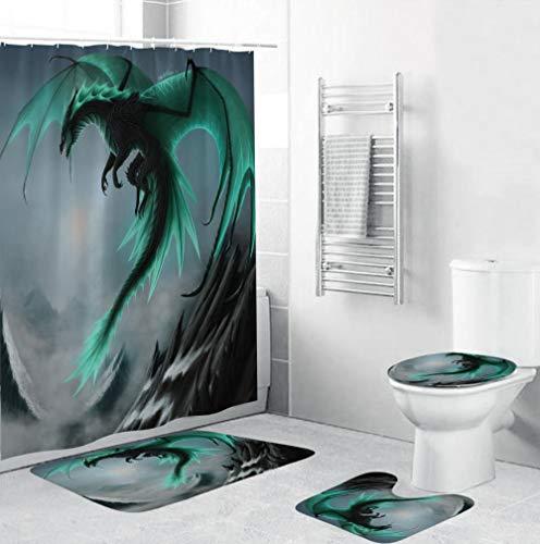 EZEZWSNBB 4-teiliges Badvorleger-Set Grüner Drache Duschmatte + Kontur Matte + WC-Deckelbezug + Duschvorhang,rutschfeste Badvorleger,Dusche & Toilette Badezimmerteppich