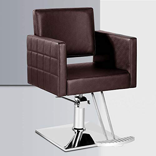 Salon Style Vintage Barber Chair, Square Chrome Base Barbering Salon Chair for Hair Stylist Beauty (Brown)