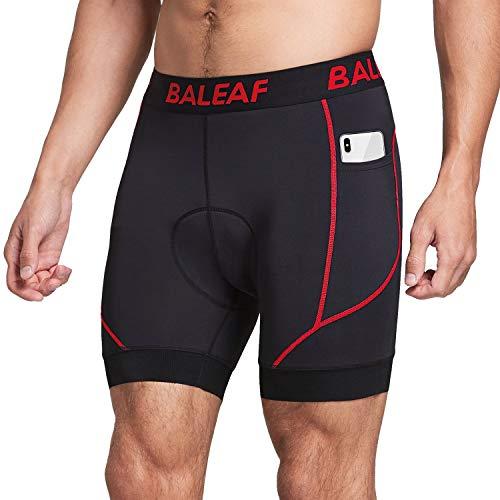BALEAF Men's Cycling Underwear Shorts 4D Padded Pockets Bicycle Biking Mountain Bike Liner Shorts Anti-Slip Leg Grips Red L