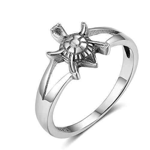 MOOKO Ringe Für Damen S925 Sterling Silber Thailändischer Silberner Ring Der Retro Niedlichen Günstigen Langlebigkeits-Fetischkleinen Schildkröte Frau/Freundin