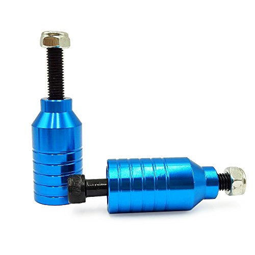 Z-FIRST Pro Scooter Pegs CNC Aluminum Pegs for Stunt Scooters with Hardware (Blue)