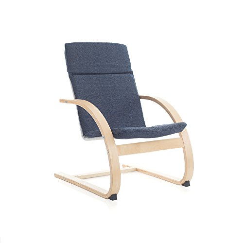 Guidecraft Nordic Rocker, Denim Cushioned Chair For Kids - Furniture
