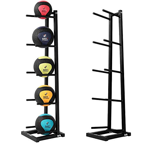 5-Tier Medicine Ball Storage Rack by Day 1 Fitness, Steel - Narrow, Vertical Exercise Ball Organizer for 5 Weighted Fitness Balls - Easy-to-Assemble, Sturdy Med Ball Tree, Home and Professional Gyms