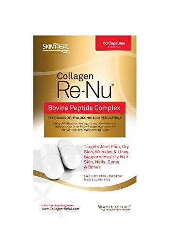 SkinPep Collagen Re-Nu Bovine Liquid Shot - The Anti-Ageing Collagen Bovine Collagen - Collagen Powder (60 Capsules)