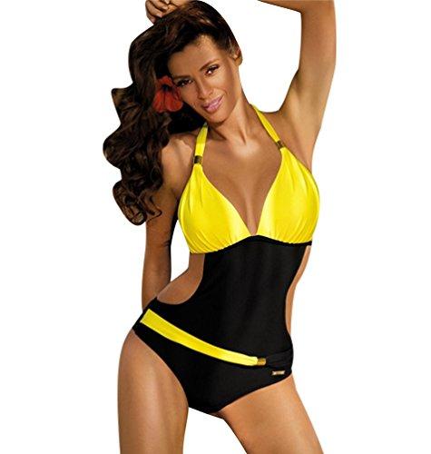 Bañadores Mujer Bikini Escote Halter Monokini Trajes de Baño Señora Traje de Baño Bikinis Mujeres Trikini Bañador Natacion Push Up de Una Pieza Juveniles Trikinis Bañadores Espalda al Aire Amarillo L