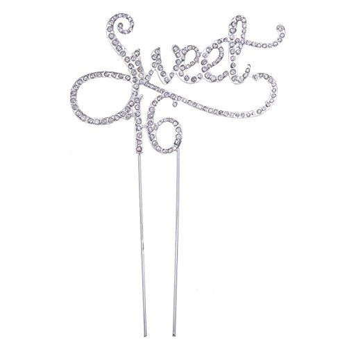 STOBOK Kuchen Topper Strass Sweet 16 Kuchendeckel Kuchendekoration Jahrestag Geburtstag Party Zubehör (Silber)