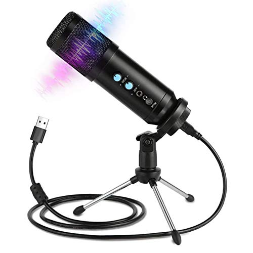 Thrivinger USB Gaming Microphone, Computer Condenser PC Mic with Tripod Stand, Pop Filter for Streaming, Podcasting, Compatible with iMac PC Laptop Desktop Windows Computer