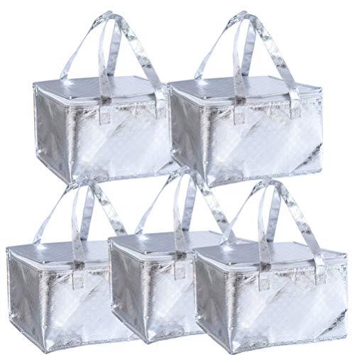Cabilock Izolowana torba torby na zakupy spożywcze duża torba do przechowywania żywności piknikowa torba na lunch na zakupy piknik podróż plaża dostawa ciepłego zimnego jedzenia 5 szt.