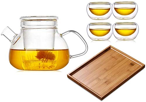 Teapots Teapot Cup Thickened Teapot Glass Filter Filter Flower Teapot Teapot Transparent (Color: Single Pot) Size:Pot 1+2 Cups+1 Tea Tray (Size : Pot 1+4 Cups+tea Tray)