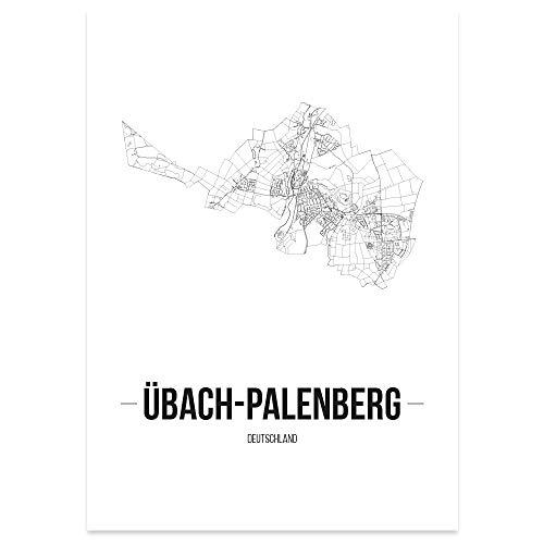 JUNIWORDS Stadtposter - Wähle Deine Stadt - Übach-Palenberg - 40 x 60 cm Poster - Schrift B - Weiß