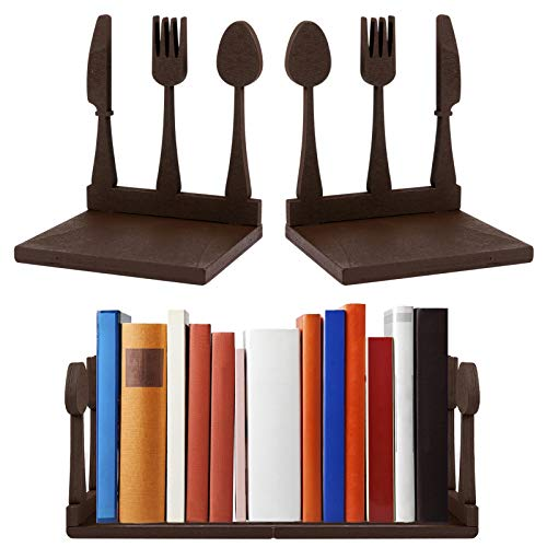 1 Pair Wooden Cookbook Bookends- Decorative Fork Knife Spoon Kitchen Book Holder with Bottom Non-Slip Pads Cooking Book Storage for Chefs Housewarming Gifts (Style1)