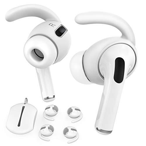 AHASTYLE Ohrpolster für AirPods Pro Silikon 3 Paare Ohrbügel Anti-Rutsch Ohrhörer-Abdeckungen【Nicht in den Ladekoffer Passen】 Kompatibel mit Apple AirPods Pro 2019 (Weiß)