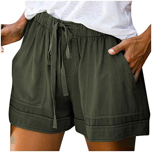Pantalones Cortos Mujer con Bolsillos,CóModos Empalmes con CordóN para Mujer Pantalones Cortos Sueltos con Bolsillos De Cintura EláStica Verano Informal