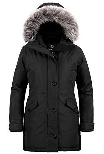 Wantdo Femme Parka Hiver à Capuche Fousse Fourrure Doublée en Sherpa Manteau Longue Casual Veste Chaude Coton Manteau Grand Froid Noir L