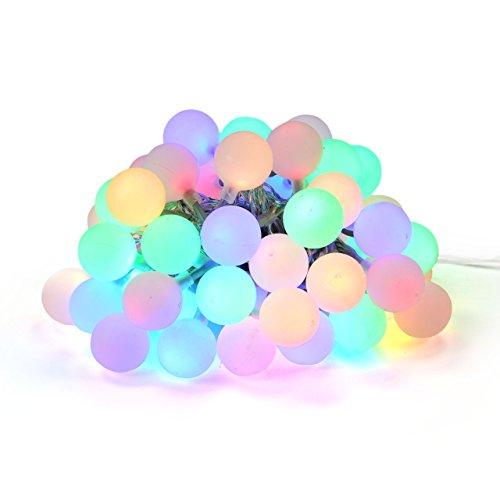 Nipach GmbH LED Partylichterkette Partybeleuchtung Lichterkette für Weihnachten Hochzeit Kindergeburtstag – 50 Leuchtkugeln mit Trafo – innen & außen – bunt