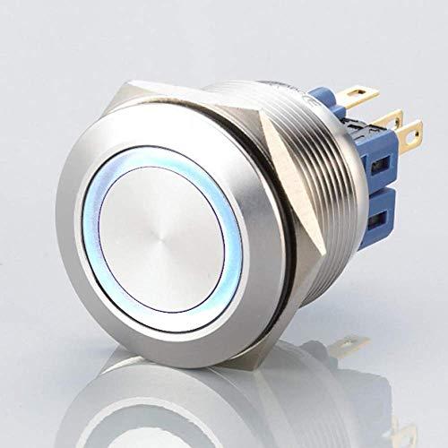 Flacher LED Schalter - Durchmesser Ø 25 mm - aus V2A Edelstahl - staub- und wasserdicht nach IP67 Schutzstandard AC/DC - witterungsbeständig und langlebig - Weiß