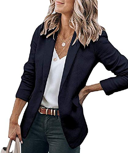 Cicy Bell Womens Casual Blazers Open Front Long Sleeve Work Office Jackets Blazer (Navy, Small)