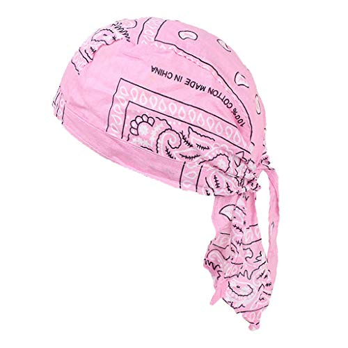 dailymall Durag Homme Waves Coiffe Vague Casquette de Cheveux avec Longue Queu - Rose, comme décrit