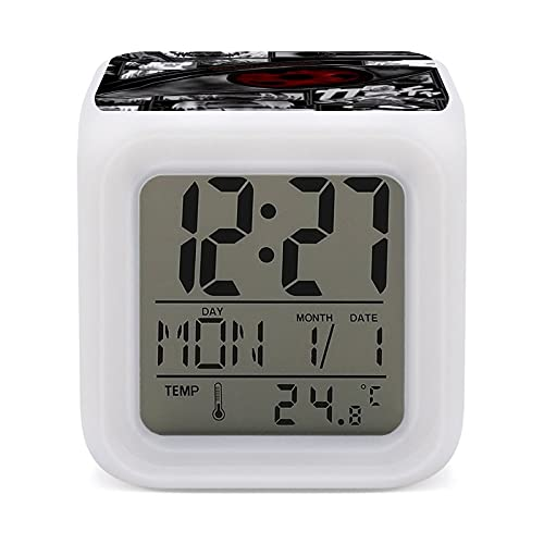 Anime Naruto Sharingan - Reloj despertador con 7 colores de fácil configuración, con pantalla digital de temperatura, reloj de noche, para dormitorio, habitación, oficina, luz de noche LED