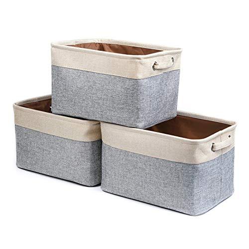 AZYJBF 3 Pieza Cajas de Almacenaje de Tela, Cestas Almacenamiento Plegables con Asas Contenedor Almacenamiento para Ropa Juguetes Dormitorios y Estanterías (Gris)