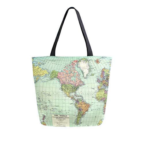 Mnsruu Bolso de hombro de lona, bolso de mano para mujer, bolso de compras cruzado, bolso de mano de mapamundi, bolso casual para playa, multifunción, para mujer