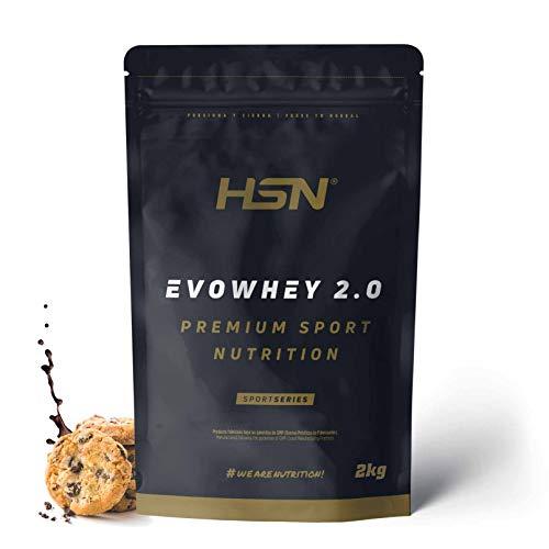 Concentrado de Proteína de Suero Evowhey Protein 2.0 de HSN | Whey Protein Concentrate| Batido de Proteínas en Polvo | Vegetariano, Sin Gluten, Sin Soja, Sabor Chocolate Galletas, 2Kg ⭐