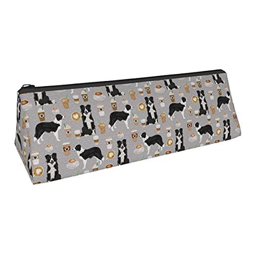 Border Collies and Coffees Prints Cute Dogs Design - Bolsa de almacenamiento con forma de triángulo para niños y niñas, escuela, oficina, alicates de papelería