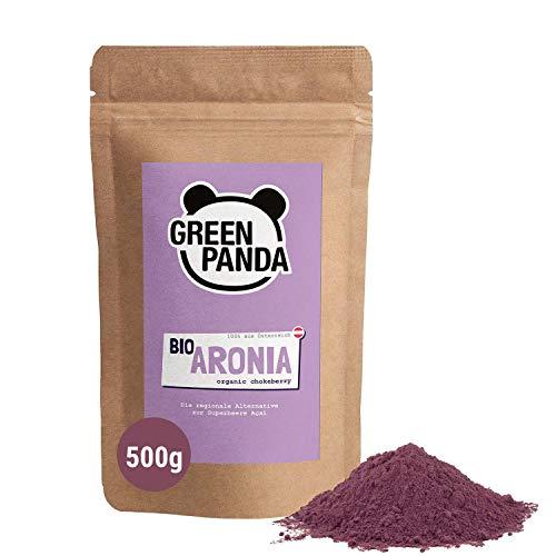 Bio Aronia Pulver aus österreichischem Anbau, extra fein gemahlene Aronia Beeren bio, regionale Alternative zum Acai Pulver, biologisch abbaubarer Beutel, 500g von Green Panda