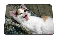 26cmx21cm マウスパッド (子猫遊び心あくび) パターンカスタムの マウスパッド