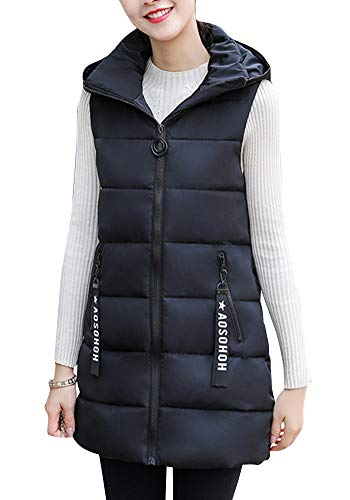 Chaleco Acolchado para Mujer Invierno Cremallera Chaqueta Sin Mangas Abajo Abrigos con Capucha Negro L