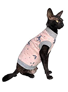 Kotomoda Sphynx Collier Licorne à col roulé pour chat Rose Nu Vêtements pour chat Sans poil (L)