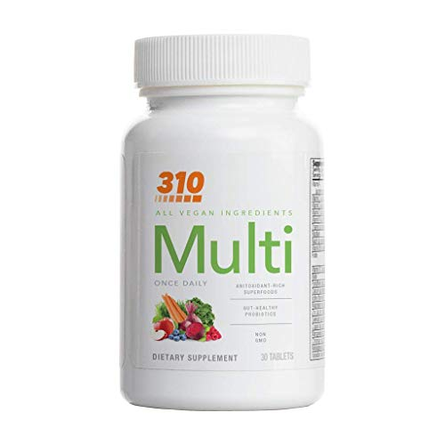 Multivitamin by 310 Nutrition | Made from Fruits and Vegetables | Essential Multimineral Supplement for Men and Women | Contains Vitamins, Probiotics, and Our Proprietary Greens Blend (1.0)