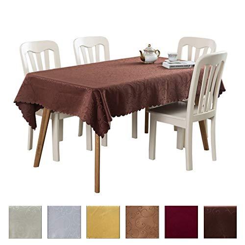 JK Home - Tovaglia Rettangolare con Motivo Floreale, in Poliestere Lavabile, per ristoranti, Picnic, bistros, Matrimoni, per Interni ed Esterni, Poliestere, Coffee, 70\'\'x70\'\' / 1.8x1.8m