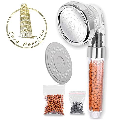 Premium Duschkopf, wassersparende und druck verstärkende Handbrause mit 3 Strahl arten und Mineralsteinen mit Ionenfilter.
