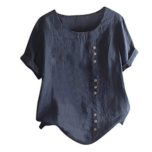 PRJN bedrucktes T-Shirt, Damen-Kurzarmhemd in Übergröße Leinen-T-Shirt lässiges Oberteil lose WesteSommerdamen lässige Retro-Baumwolle und Leinen bedrucktes lockeres Freizeithemd