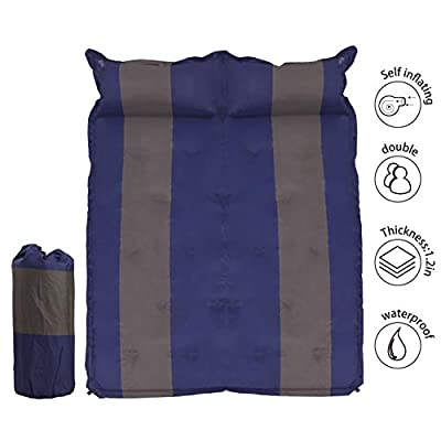 """WILD FUN 2 Person Double Self-Inflating Sleeping Pad with Pillow,Lightweight,75"""" x 52"""" Sleep Mat, Moisture-Proof Camping Pad, Perfect for Hiking & Backpacking (Blue with Grey)"""