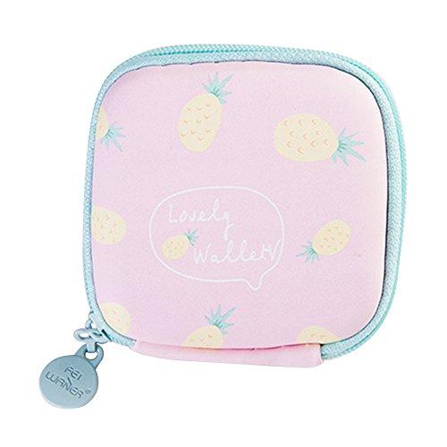 Dosige portemonnee met hoofdtelefoon, opbergtas voor hoofdtelefoon, voor het opbergen van datakabel, miniportemonnee, oplader, afmetingen 3,5 cm x 6,5 cm x 7 cm (ananas roze)