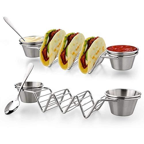 Vajilla Soporte de Acero Inoxidable Taco Mexicano Pancake maíz Estante Asiento Taco...
