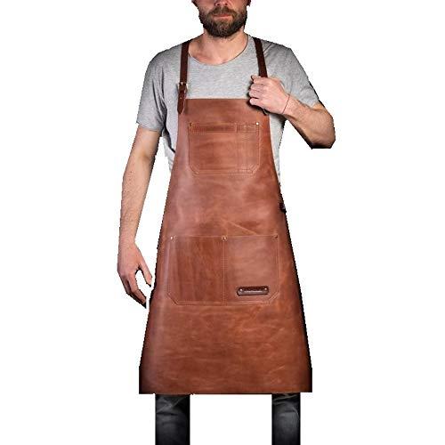 Number Seven Grillschürze Leder Mit Schweißerschürze, Schmiedeschürze, Tischlerschürze aus Leder für Männer. Flammhemmende Thermoschürze zum Schweißen in der Werkstatt.