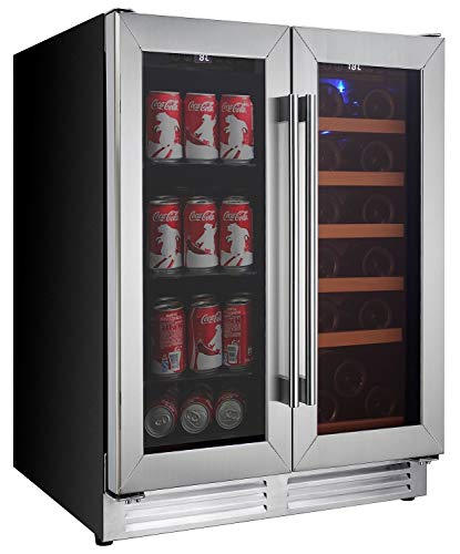 Koolatron Elite Series Dual Zone Built-In Wine Cooler and Beverage Fridge Refrigerator - Compressor Wine Cellar for Home Bar, Kitchen - Ideal for Red, White, Champagne or Sparkling Wine