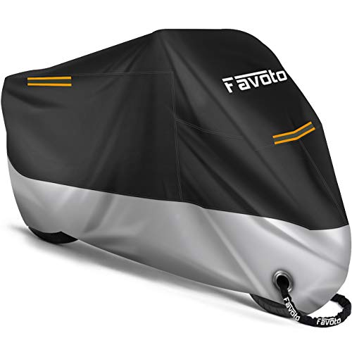Favoto [Updated Version] Motorbike Motorcycle Cover Heavy Duty Oxford Fabric with Lock-Hole 3 Night Reflectors Windproof Buckles Carrying Bag Rain Dust Sun Outdoor Protection (Black-Silver, 104')