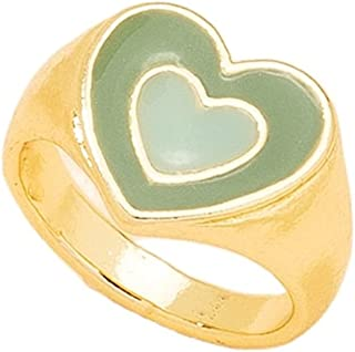 Colorful Double Heart Enamel Stackable Finger Knuckle Ring Band for Women Girl Jewelry Cute Love Plain Finger Ring Wedding...