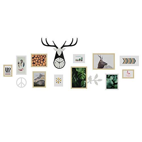 ZXZ-GO Lettres murales Photo Grande Taille personnalité décoration de Fond décoration Murale Cadre en Bois Massif Combinaison de Cadre créatif