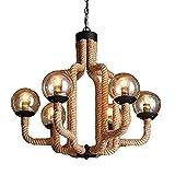 LLLKKK Lámpara de araña de cuerda de cáñamo de estilo industrial, E27, iluminación creativa, restaurante, bar, decoración, lámpara de techo vintage, cuerda de cáñamo, 6 luces