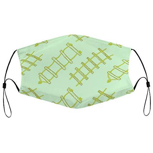 Dkisee Fashion Unisex Staubmaske mit Filterelement, verstellbare Ohrschlaufen, Gesichtsmaske für den Außenbereich (Seil, Leiter, nahtloses Muster)