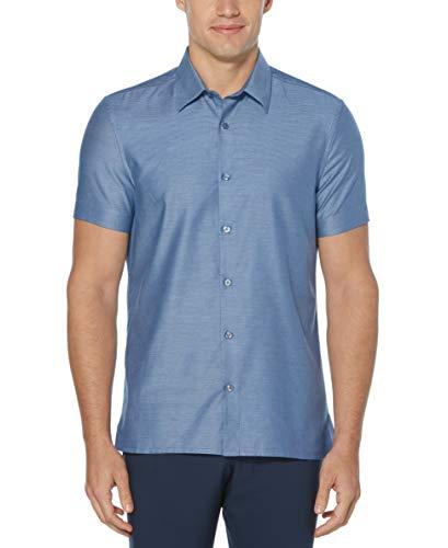 Perry Ellis Men's Solid Textured Short Sleeve Button-Down Shirt, Regal Blue, Medium