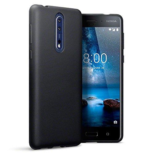 TERRAPIN, Kompatibel mit Nokia 8 Hülle, TPU Schutzhülle Tasche Case Cover - Matt Schwarz